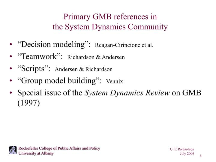 Primary GMB references in