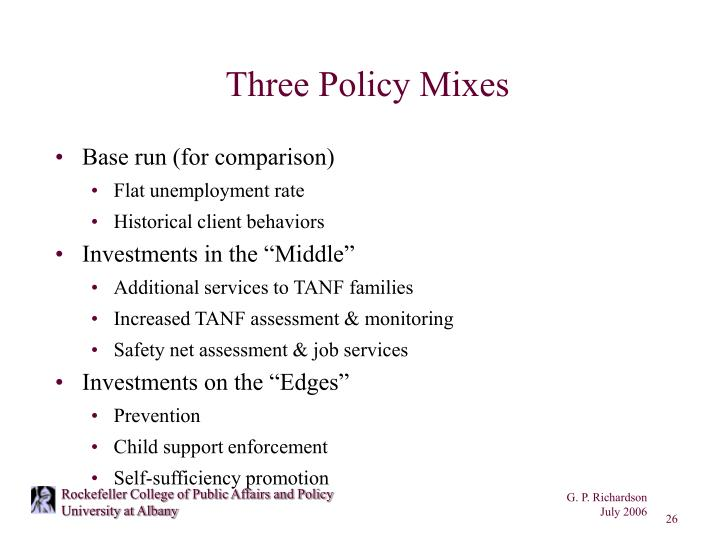 Three Policy Mixes