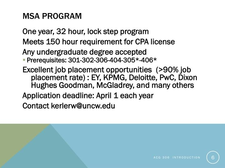 MSA program