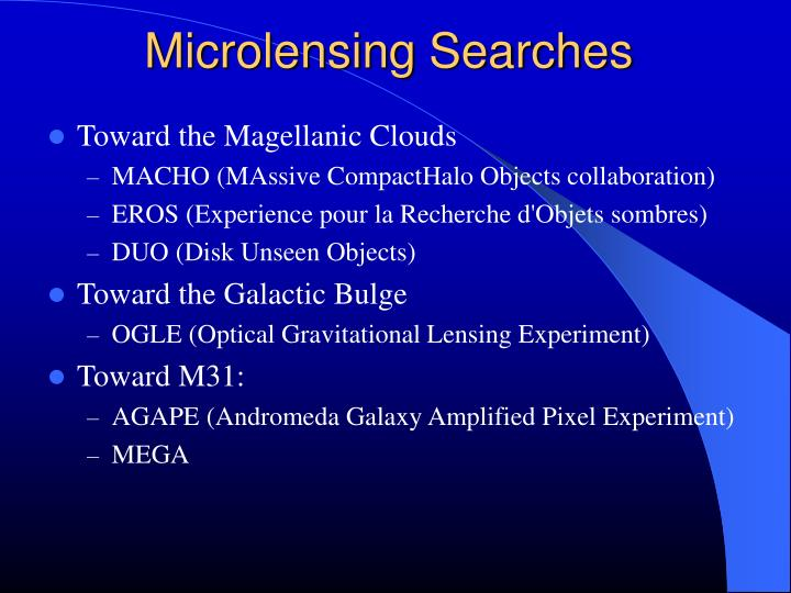 Microlensing Searches