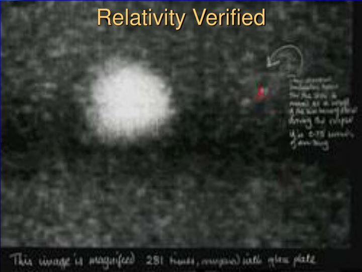 Relativity Verified