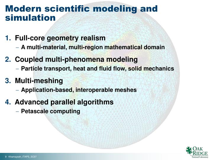 Modern scientific modeling and simulation
