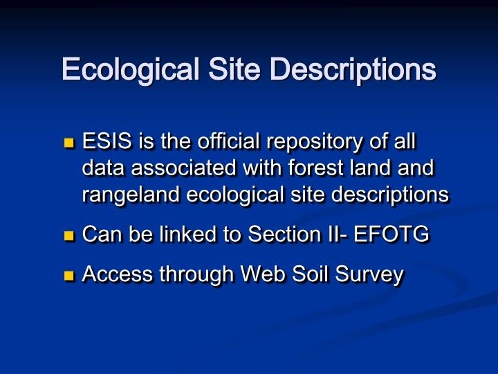 Ecological Site Descriptions