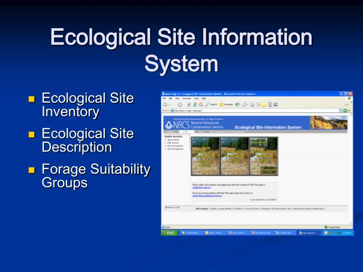 Ecological site information system