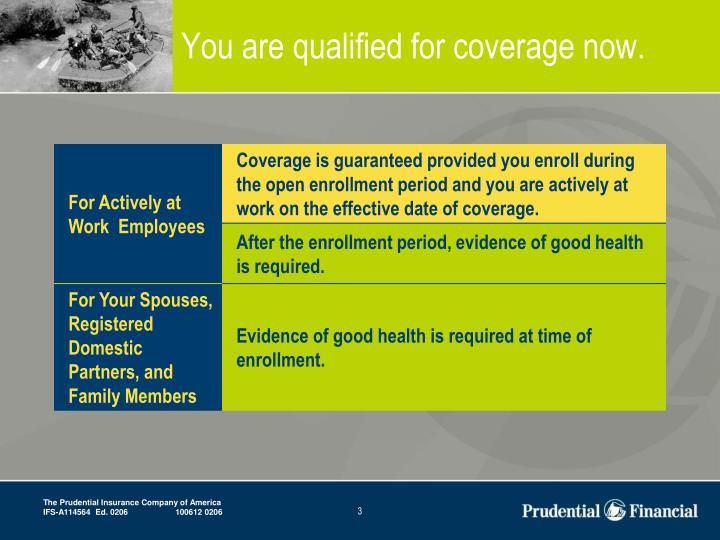 You are qualified for coverage now