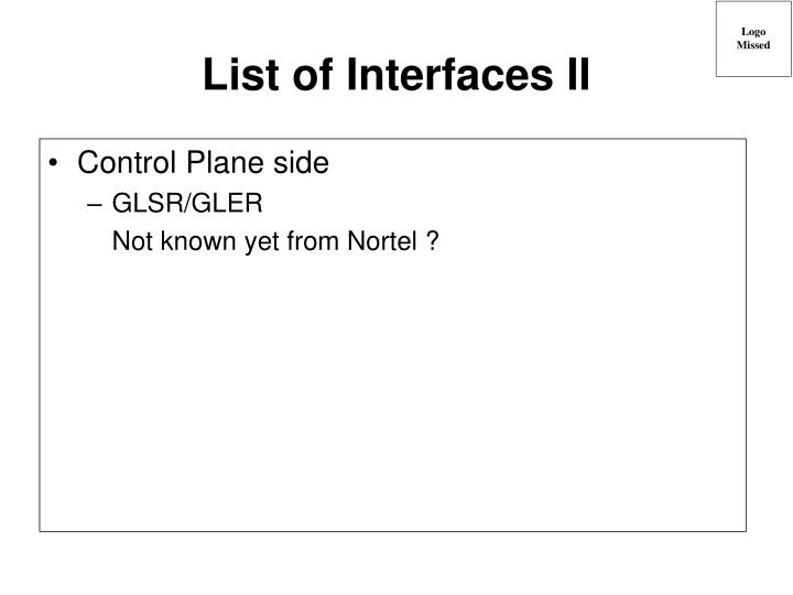 List of Interfaces II