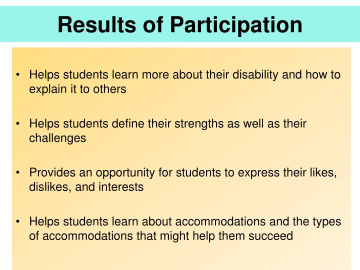 Results of Participation