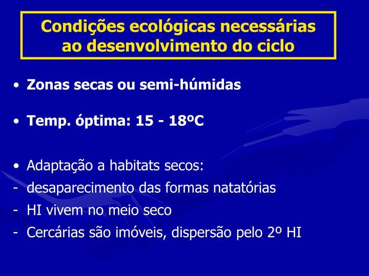 Condições ecológicas necessárias