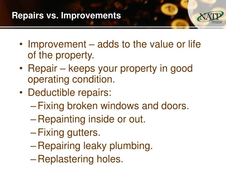 Repairs vs. Improvements