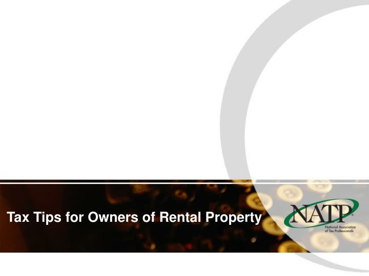 Tax tips for owners of rental property