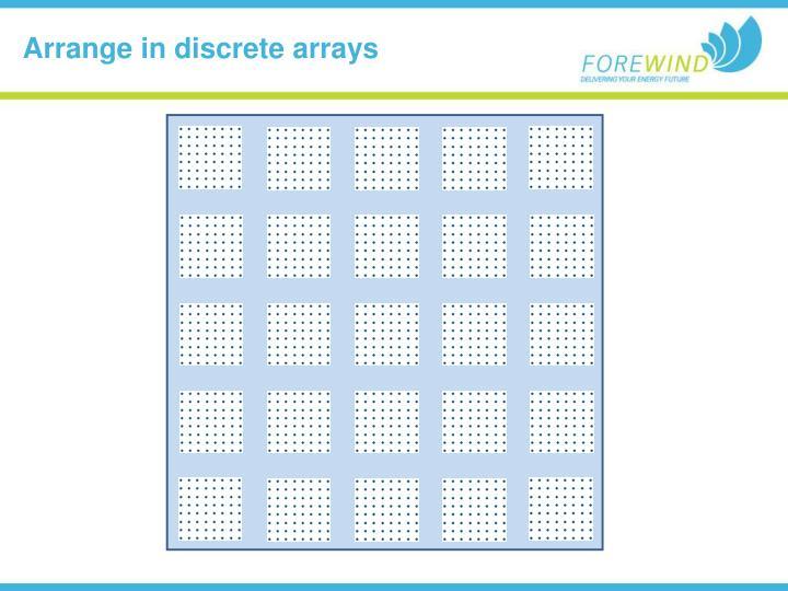 Arrange in discrete arrays