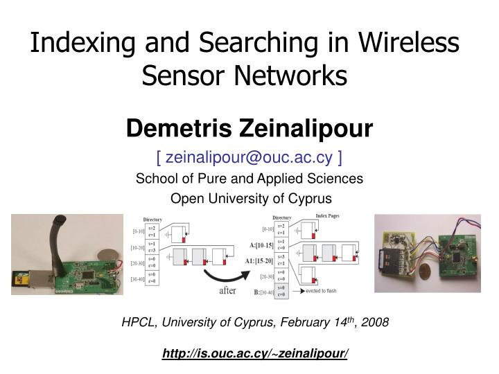 Indexing and searching in wireless sensor networks