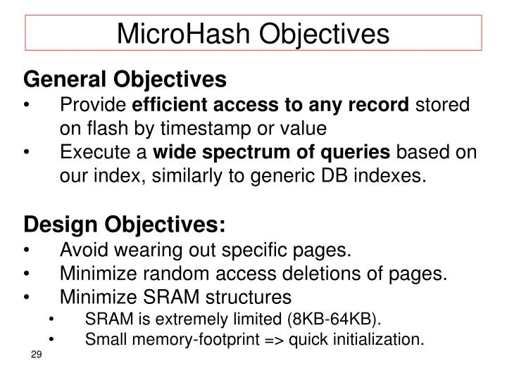 MicroHash Objectives