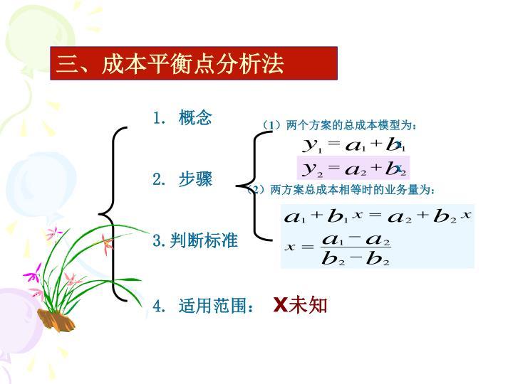 三、成本平衡点分析法