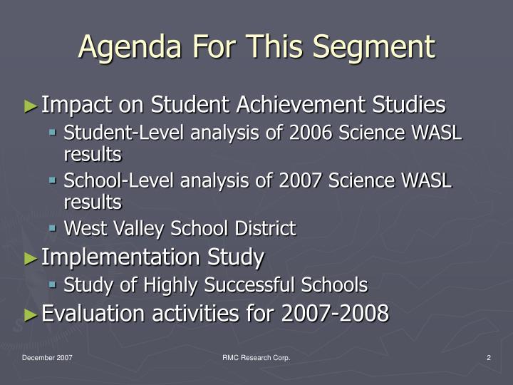 Agenda For This Segment