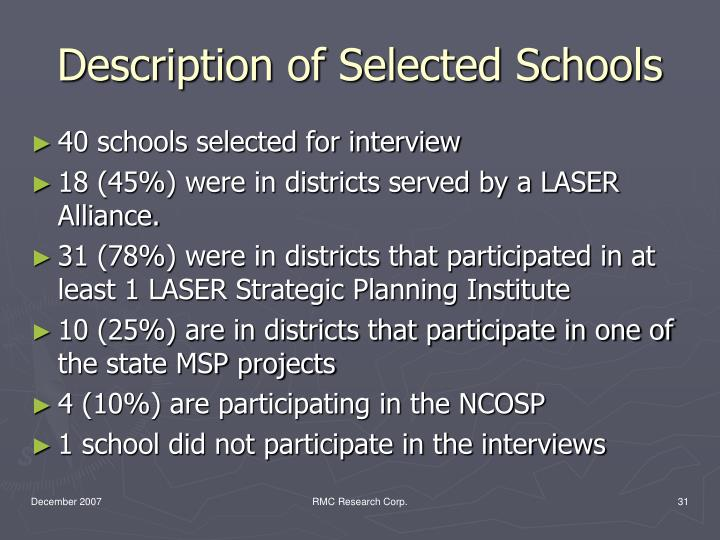 Description of Selected Schools