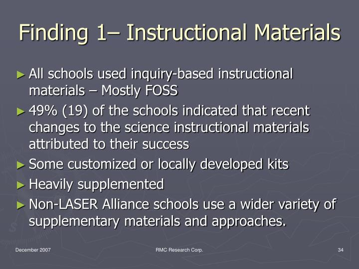 Finding 1– Instructional Materials