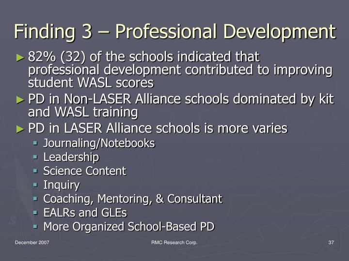 Finding 3 – Professional Development