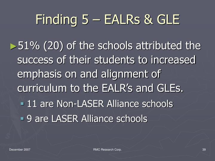 Finding 5 – EALRs & GLE