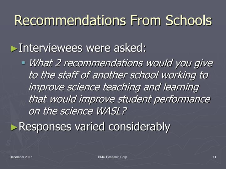 Recommendations From Schools