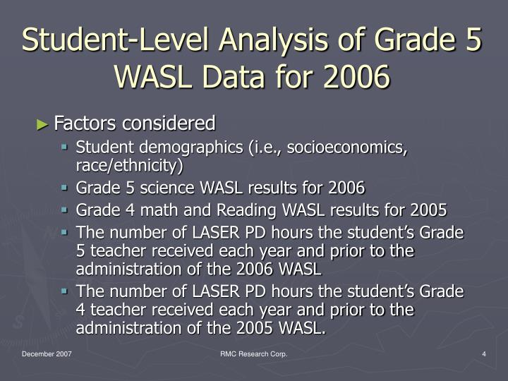 Student-Level Analysis of Grade 5 WASL Data for 2006