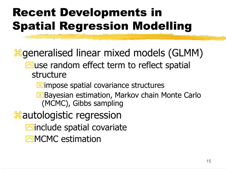 Recent Developments in Spatial Regression Modelling