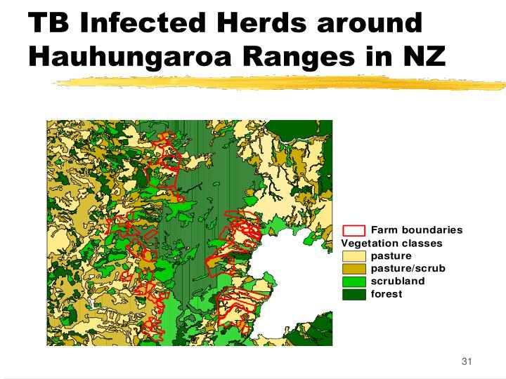 TB Infected Herds around Hauhungaroa Ranges in NZ
