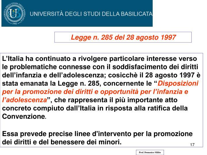 Legge n. 285 del 28 agosto 1997