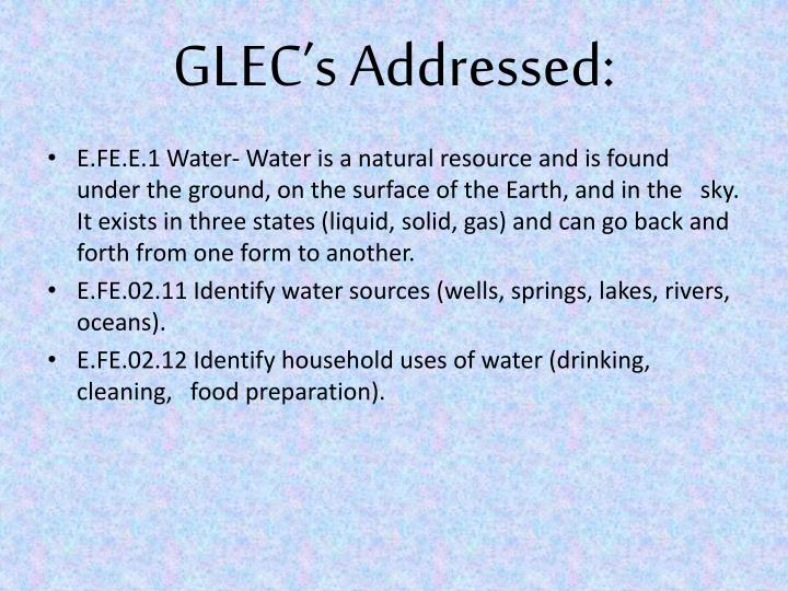 GLEC's Addressed: