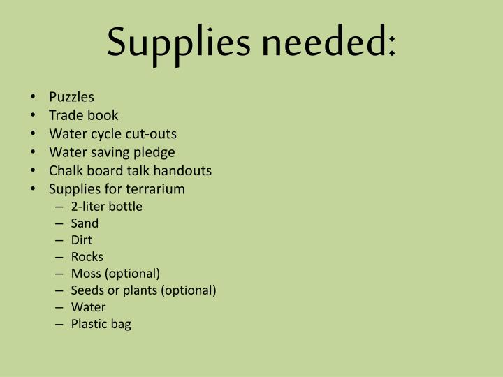 Supplies needed:
