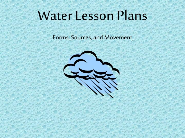 water lesson plans