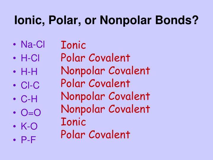 Ionic, Polar, or Nonpolar Bonds?
