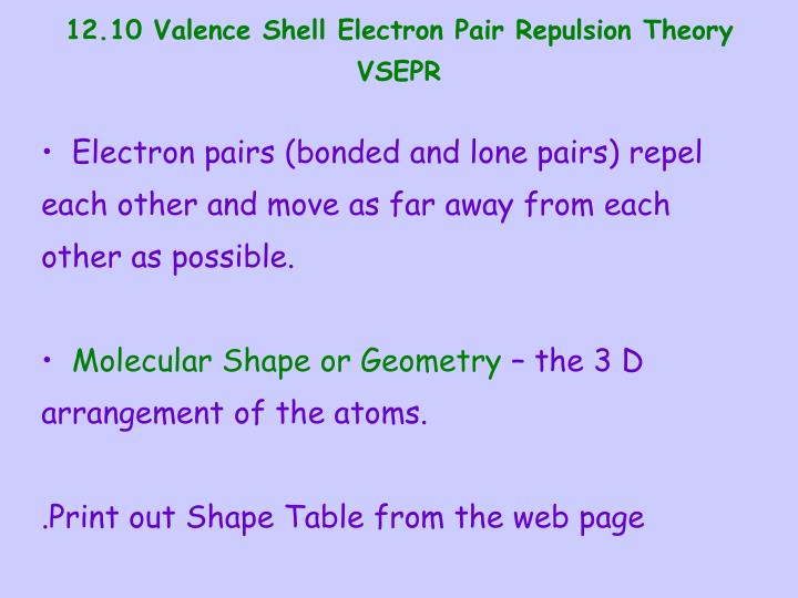 12.10 Valence Shell Electron Pair Repulsion Theory