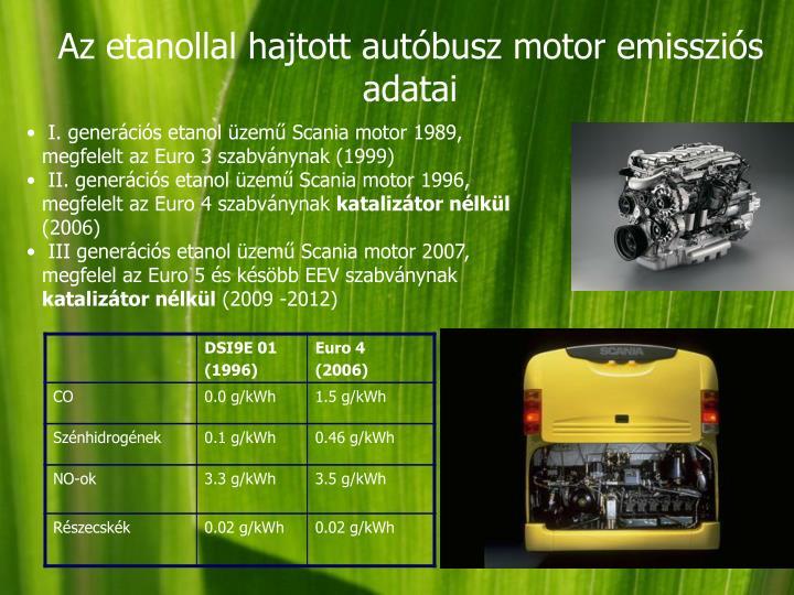 Az etanollal hajtott autóbusz motor emissziós adatai
