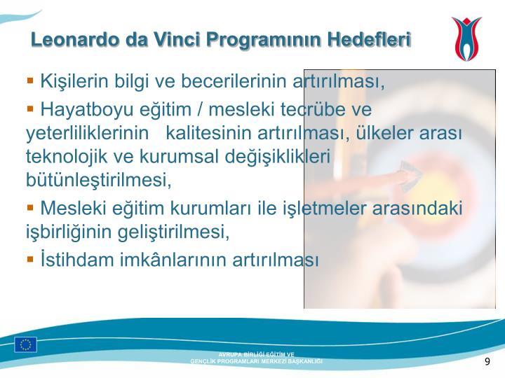 Leonardo da Vinci Programının Hedefleri