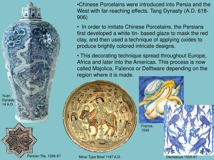 Chinese Porcelains were introduced into Persia and the West with far-reaching effects. Tang Dynasty (A.D. 618-906)