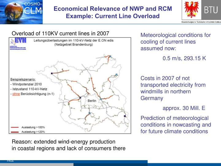 Economical relevance of nwp and rcm example current line overload