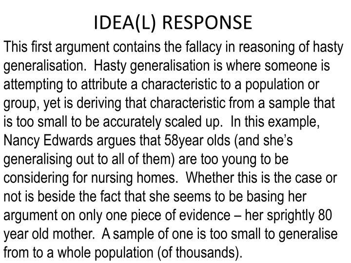IDEA(L) RESPONSE