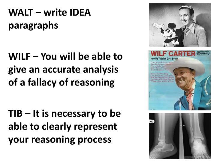 WALT – write IDEA paragraphs