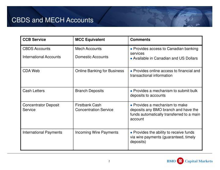 CBDS and MECH Accounts