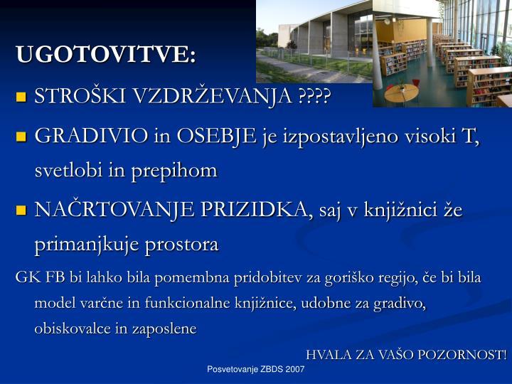 UGOTOVITVE: