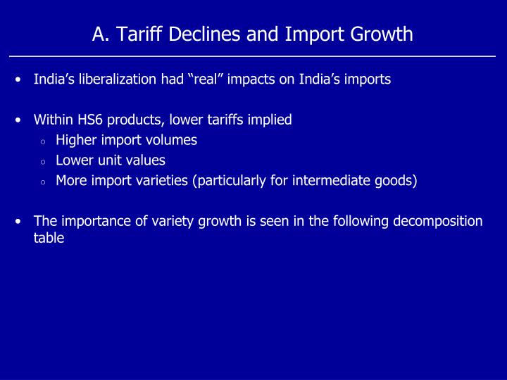 A. Tariff Declines and Import Growth