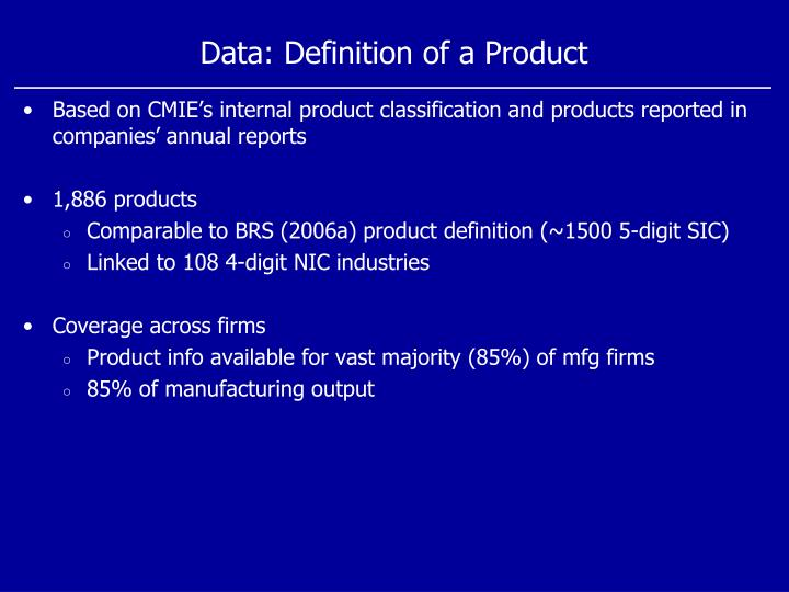 Data: Definition of a Product