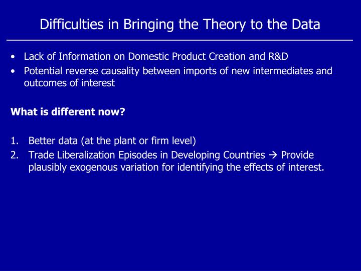 Difficulties in Bringing the Theory to the Data