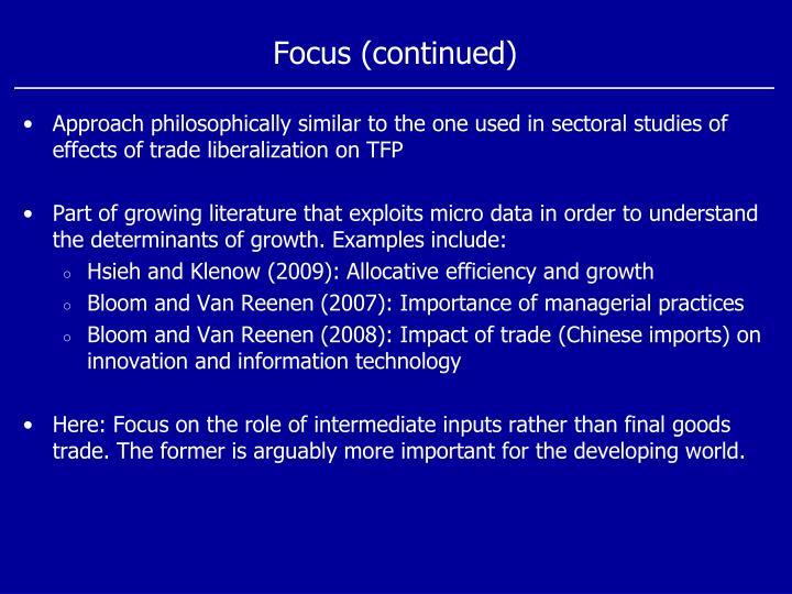 Focus (continued)
