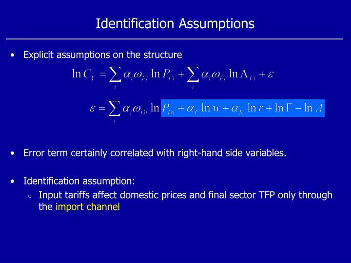 Identification Assumptions