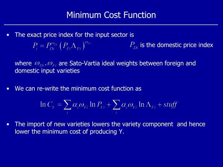 Minimum Cost Function