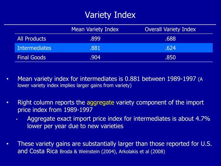 Variety Index