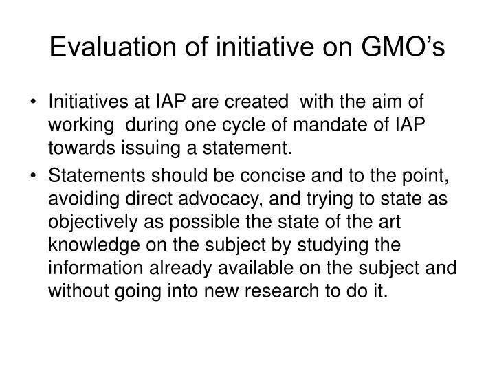 Evaluation of initiative on GMO's