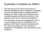 evaluation of initiative on gmo s3